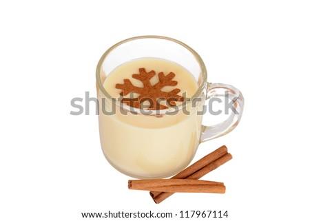 eggnog with cinnamon snowflake - stock photo