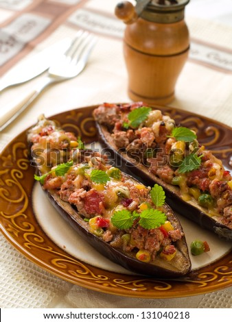 Eggplant (aubergine) stuffed with meat and vegetables, selective focus