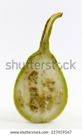 Eggplant cut in half isolated on white background.