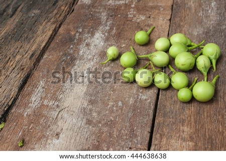 eggplant fresh organic green vegetable on wooden background