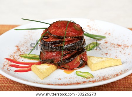 Eggplant fried - stock photo