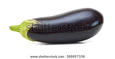 Eggplant Isolated with clipping path on a white background - stock photo