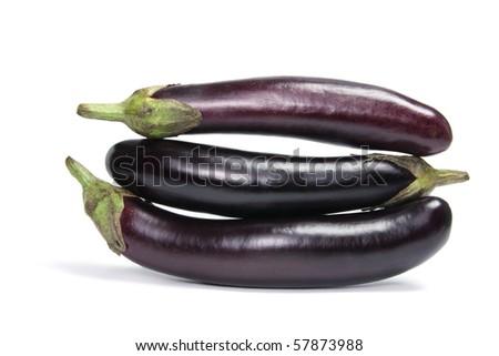 Eggplant on Isolated White Background - stock photo