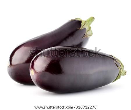 Eggplant or aubergine vegetable isolated on white background cutout - stock photo