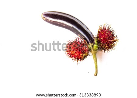 Eggplant purple and rambutan, design shape penis isolated on white - stock photo