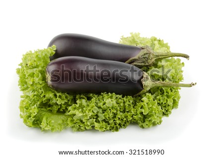 eggplant salad leaves on a white background - stock photo