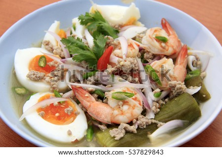 Eggplant salad with eggs and shrimps, Thai-food.