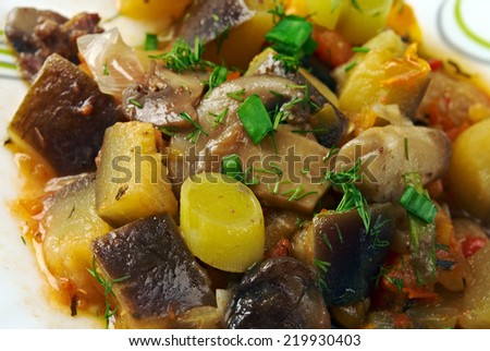 eggplant stewed with mushroom , French saute .
