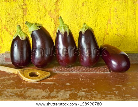 eggplants, fresh from the garden - stock photo