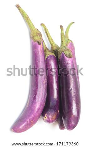 eggplants isolated on white background - stock photo
