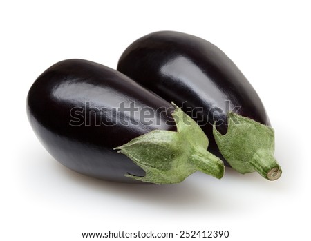 Eggplants isolated on white background with clipping path - stock photo