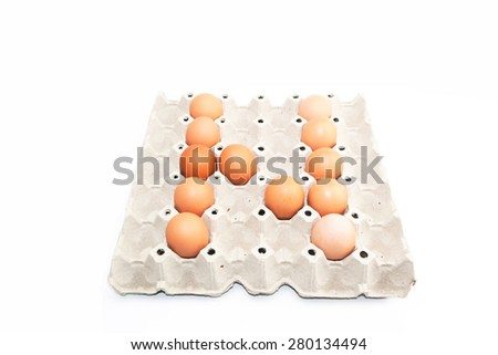 eggs alphabet shape isolate on white background - stock photo