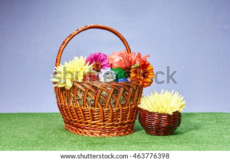 Eggs and Easter flowers in a basket