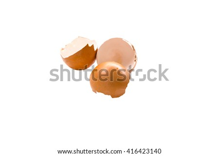 eggs and eggshell isolated on white background - stock photo