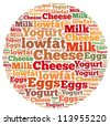 Eggs and Low-Fat Dairy info-text graphics and arrangement concept on white background (word cloud) - stock photo