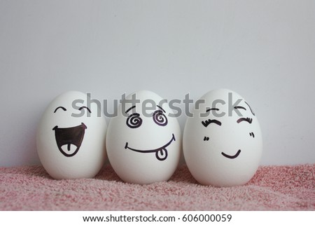 Eggs Funny Faces Concept Laughter Photo Stock Photo ...  Eggs Funny Face...