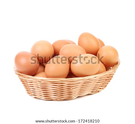 Eggs at basket.