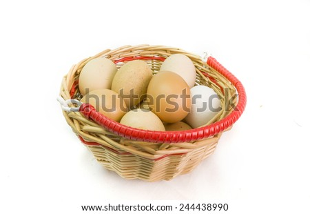 eggs basket isoleted - stock photo