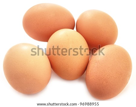 Eggs bio product natural on white background - stock photo
