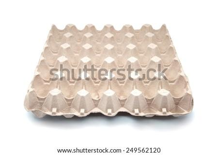 eggs box on white fund - stock photo