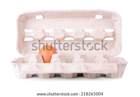 Eggs carton package isolated on a white background - stock photo