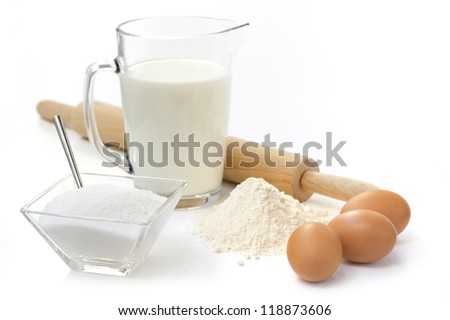 eggs, flour, sugar,  milk  and rolling pin