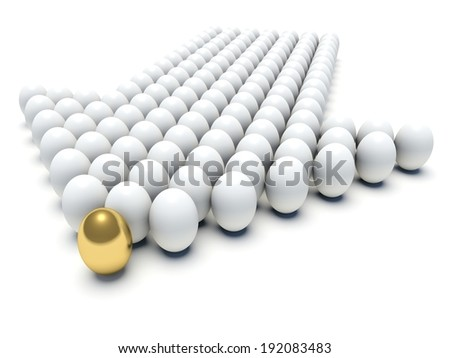 Eggs forming an arrow. Business concept. 3d render illustration.