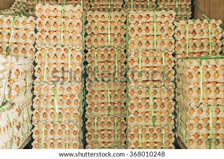 Eggs from chicken farm in the package - Eggs - Chicken Eggs - raw food - stock photo