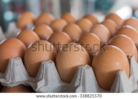 Eggs from chicken farm on the package. - stock photo