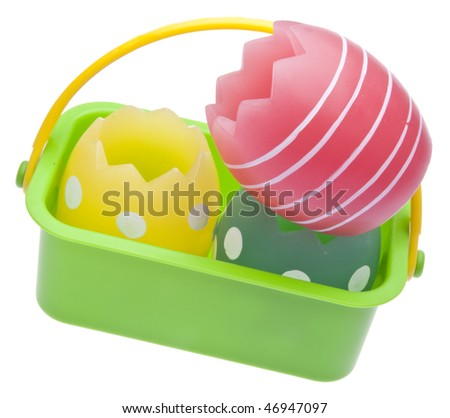 Eggs in a basket - a modern take on Easter. File includes a clipping path. - stock photo