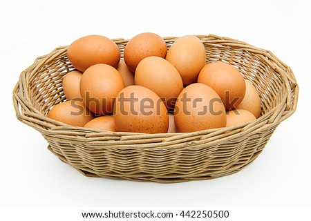 Eggs in a basket with shadow. - stock photo