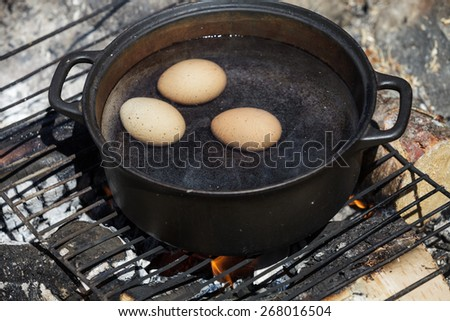 Eggs in a Cast Cauldron full Boiling Water on a Camping Fire - stock photo