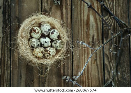 eggs in a nest with branches on a wooden table, easter decoration - stock photo