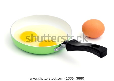 Eggs in a pan. - stock photo