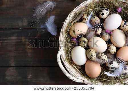 eggs in a rustic basket, easter - stock photo