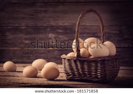 eggs in basket - stock photo