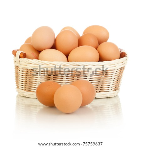Eggs in basket isolated on white white background