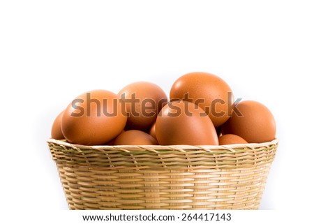Eggs in basket on white background.