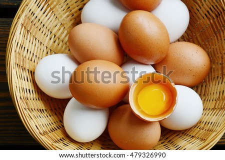 Eggs in basket on wooden floor background. Health Benefits of Eating Eggs.