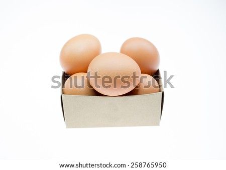 eggs in box isolated on white - stock photo