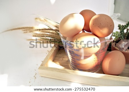 Eggs in  measuring cup and box with sunlight on white background