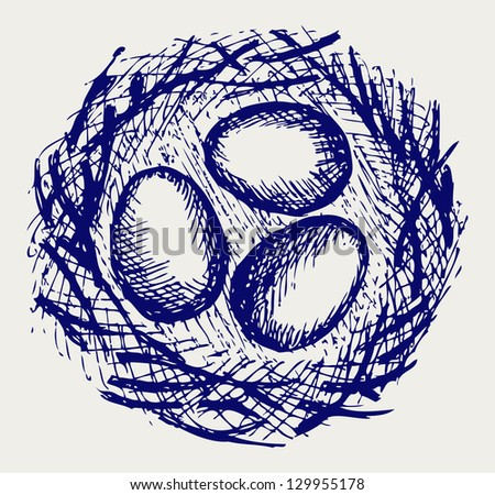 Eggs in nest. Doodle style. Raster version - stock photo