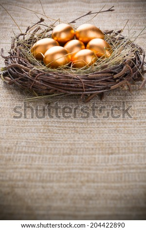Eggs in nest with copyspace - stock photo