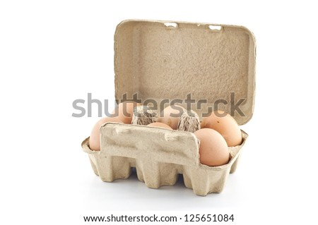 Eggs in paper tray. - stock photo