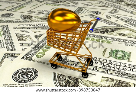 Eggs in shopping cart, 3D illustration