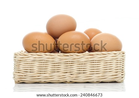 Eggs in square basket on white background isolated