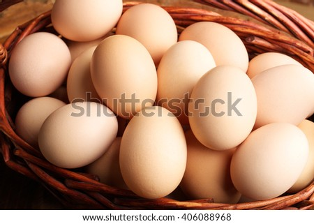 eggs in the basket neatly folded and ready for the Easter holiday. Net zdarova food. Chicken eggs - stock photo