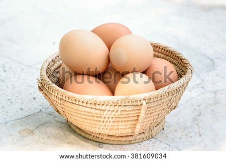 Eggs in the basket, selective focus