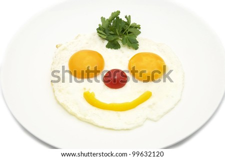 eggs in the form of a smiley on a white plate - stock photo