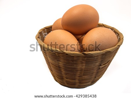 Eggs In The Mini Basket (Isolated) - stock photo